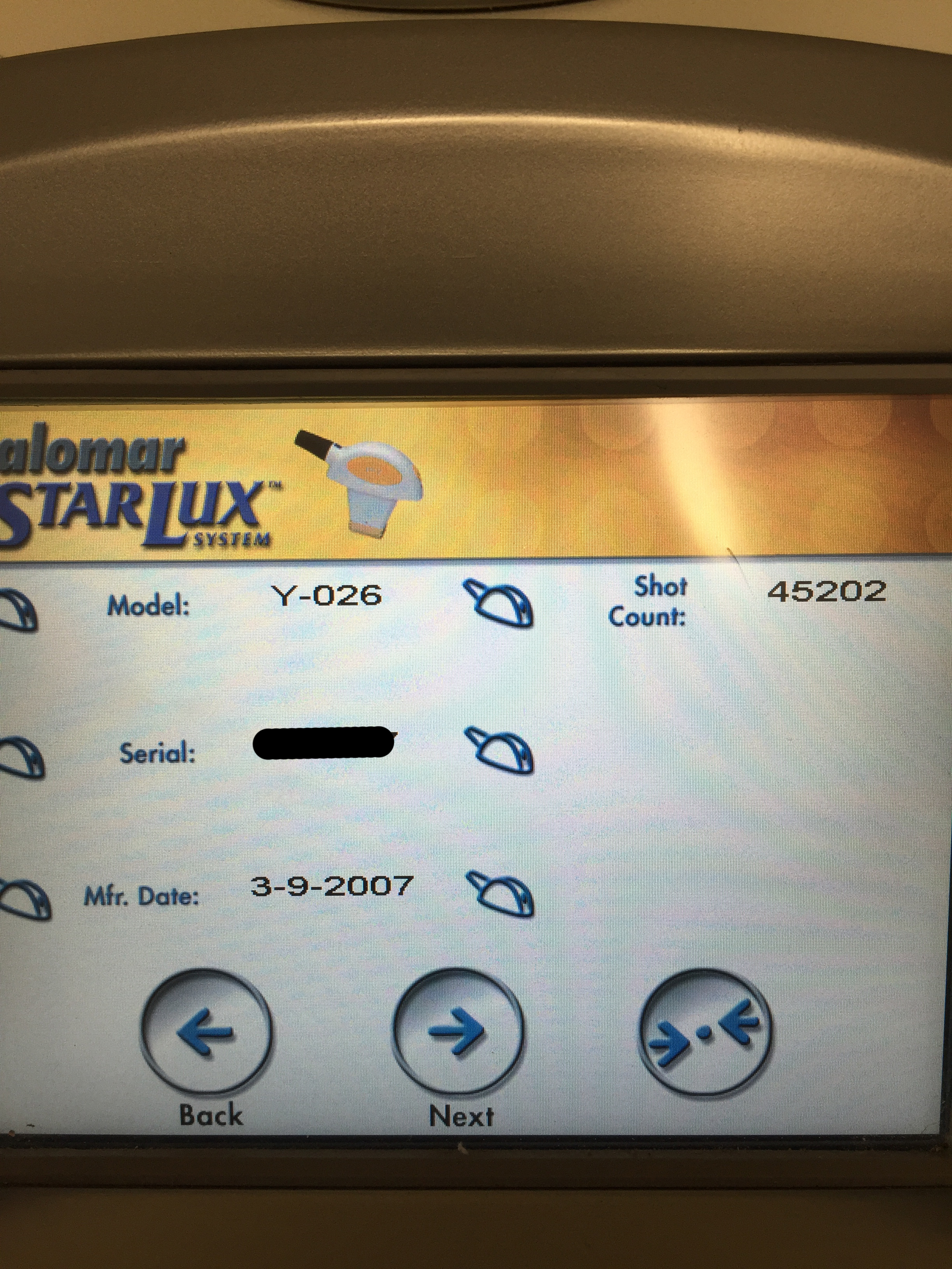 2008 Palomar Starlux 500 with 4 Handpieces: LuxRs, LuxY, MaxG, Lux1540